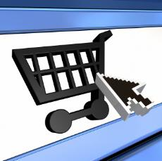 computer shopping cart icon.